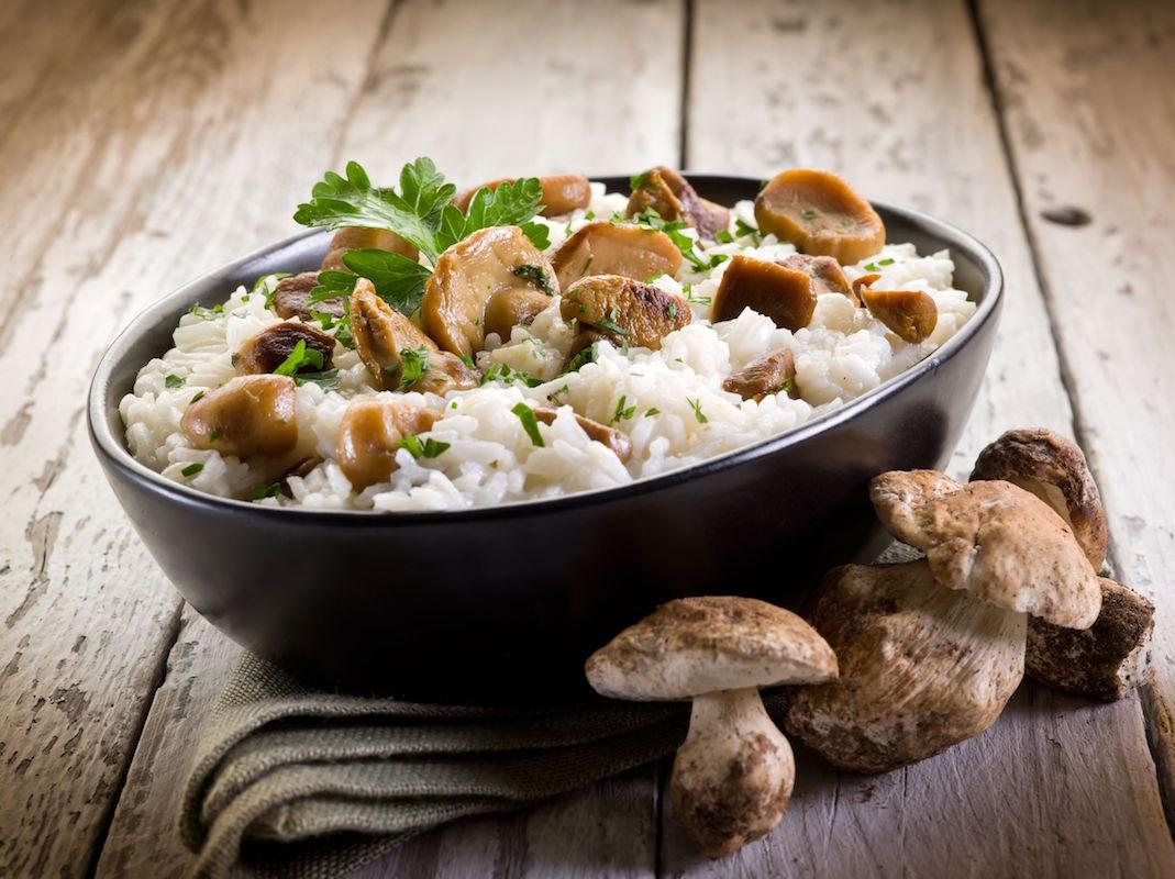 orez cu dovleac, ciuperci si gorgonzola-1