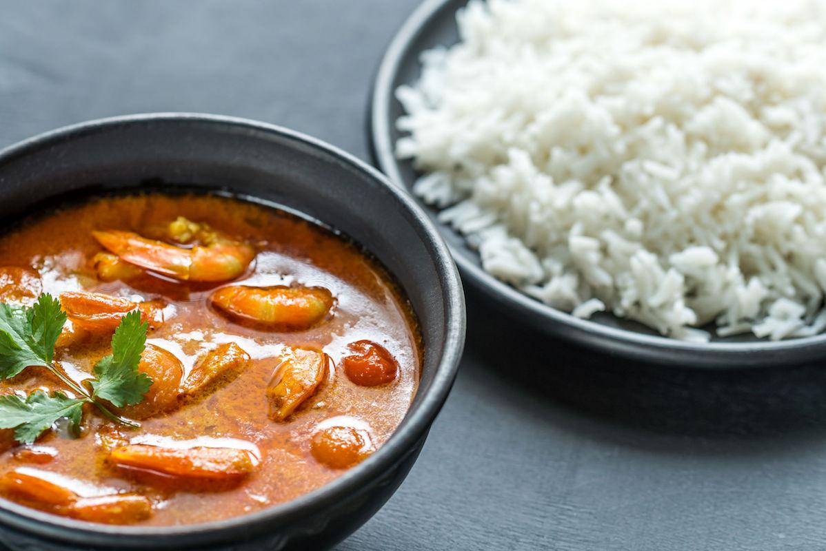 curry de creveti cu cocos si tomate