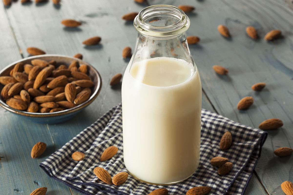 30365296 – organic white almond milk in a jug