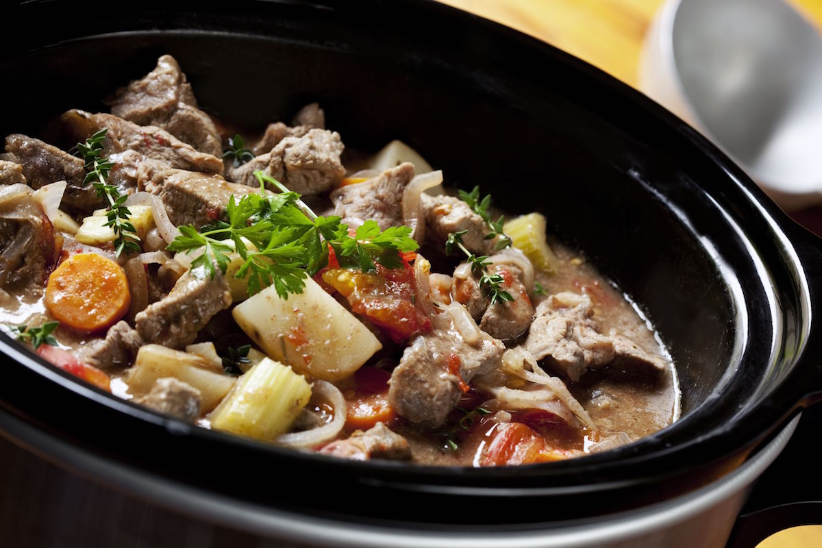 beef stew in a slow-cooker, ready to serve.