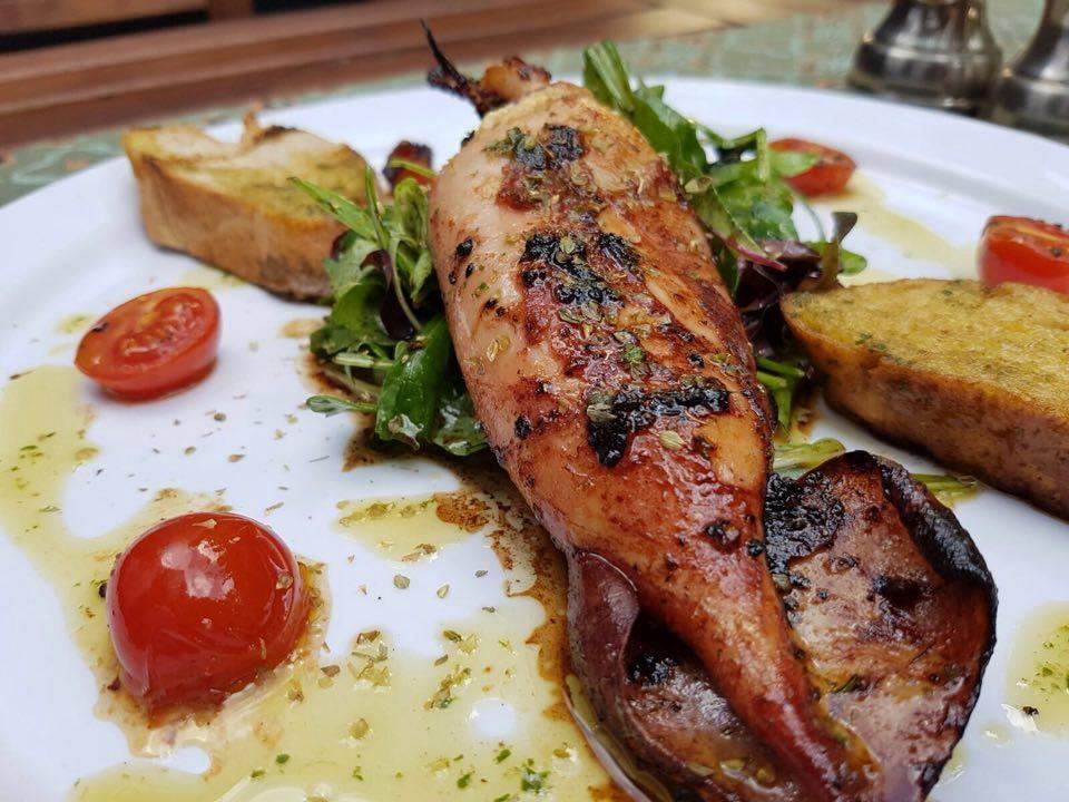 calamar umplut cu branza feta si servit cu mix de salata 2