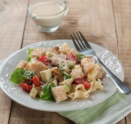40974610 - pasta salad with chicken, tomato, cheese and sauce, selective focus